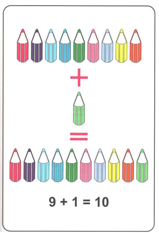 """Иллюстрация к книге """"Учимся считать"""". Карандаши. 9+1=10"""