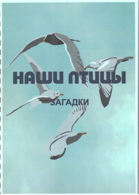 """Обложка книги """"Наши птицы. Загадки""""."""