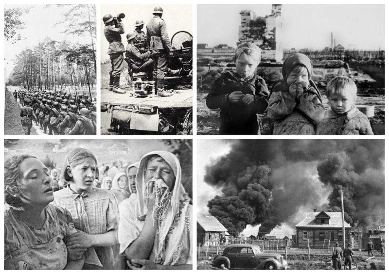 Коллаж фотографий Последствия войны